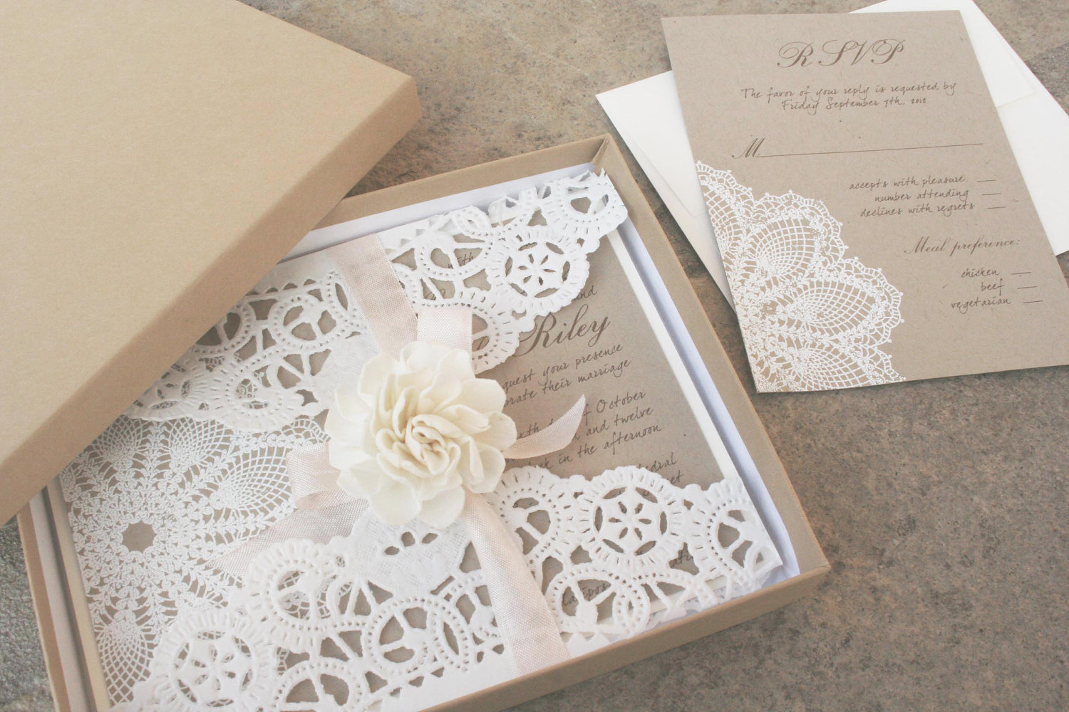 lillian lace collection – lace wedding invitation |